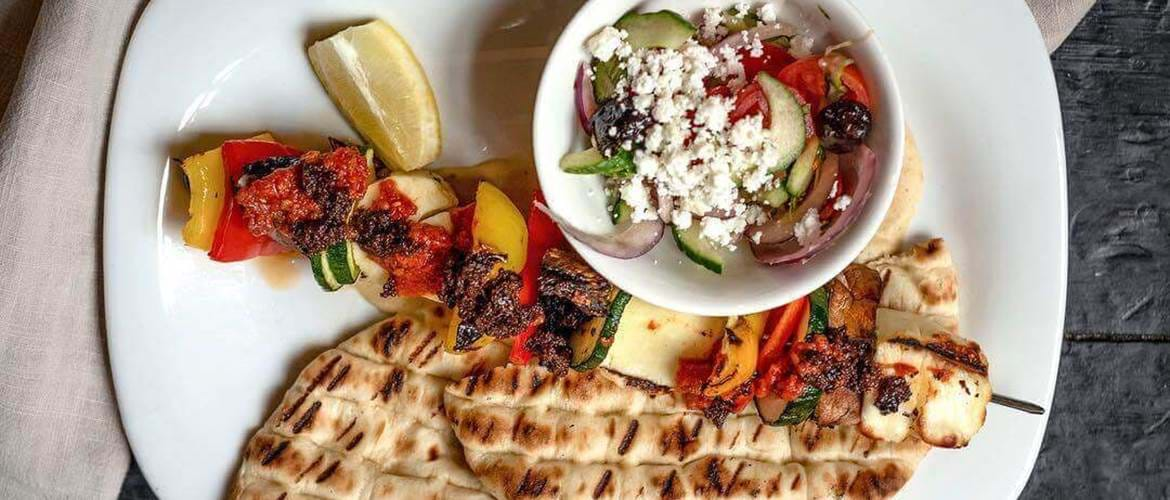 Greek Souvlaki at Whyte and Brown, Chicken Shop, Sunday Brunch, Brunch in London