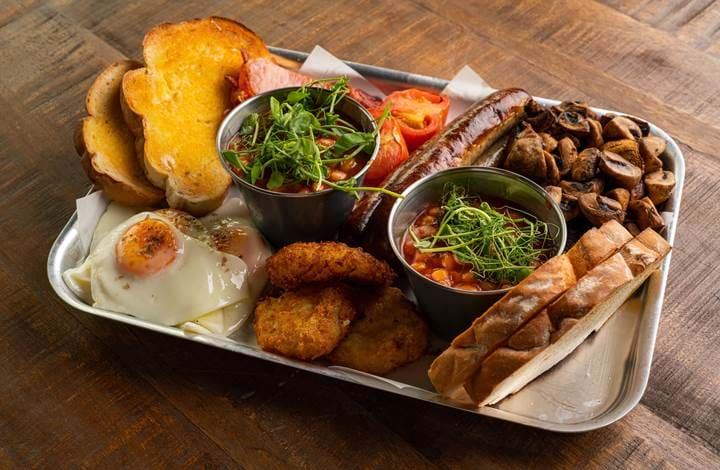 Full English Breakfast at Mann Island Social