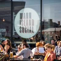 Outdoor seating at Mann Island Social