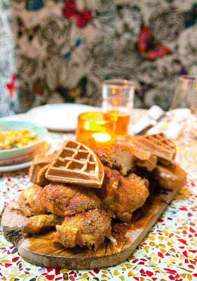 Chicken and Waffles at Red Rooster's Bottomless R'n'B Brunch in Shoreditch