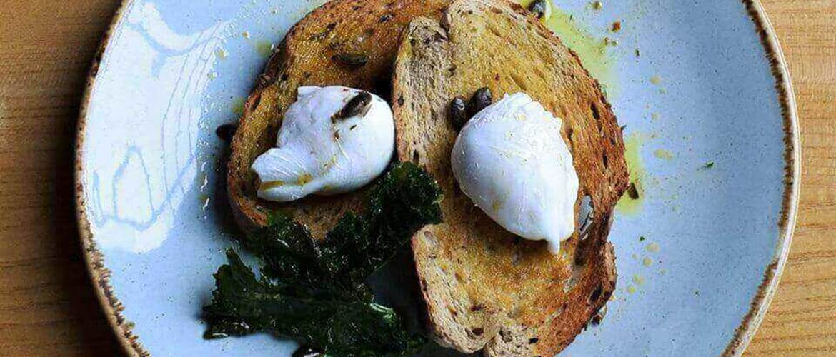 Poached eggs on toast at LEAF