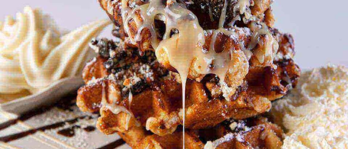 Belgian Waffles at Creme Cakes and Shakes