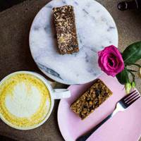 Tumeric Latte and Cakes at Fettle Cafe