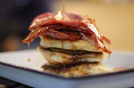 Bacon and Syrup Pancakes at Beastro