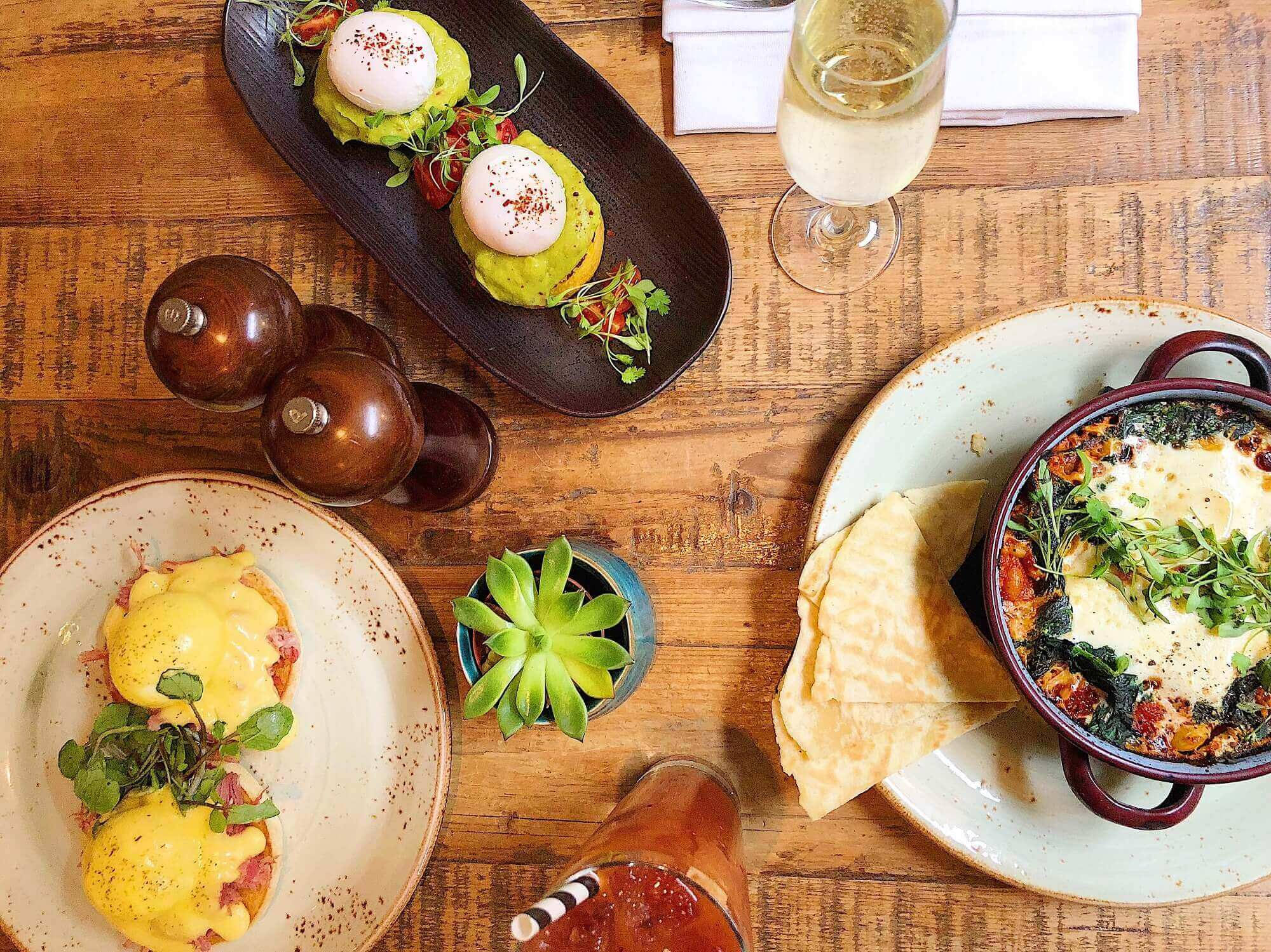 Mews of Mayfair Scrambled Eggs and Avocado and Shakshuka for Bottomless Brunch in London