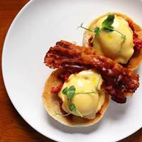 Eggs Benedict at Bryn Williams at Somerset House