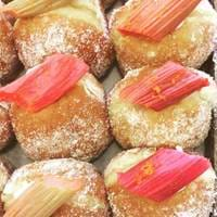 Rhubarb Donuts at The Bearded Baker