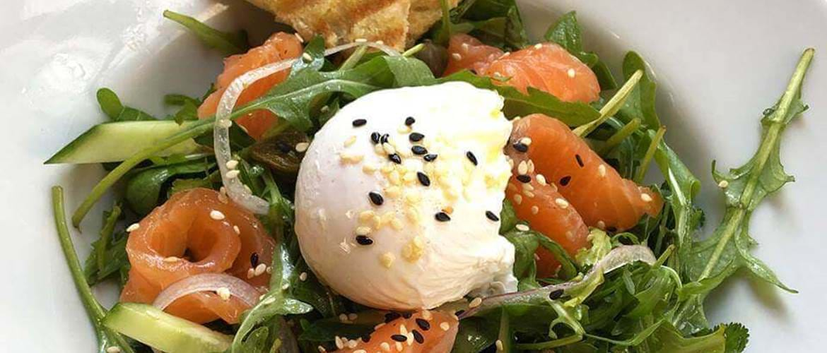Smoked Salmon and Poached Eggs at Quilliam Brothers