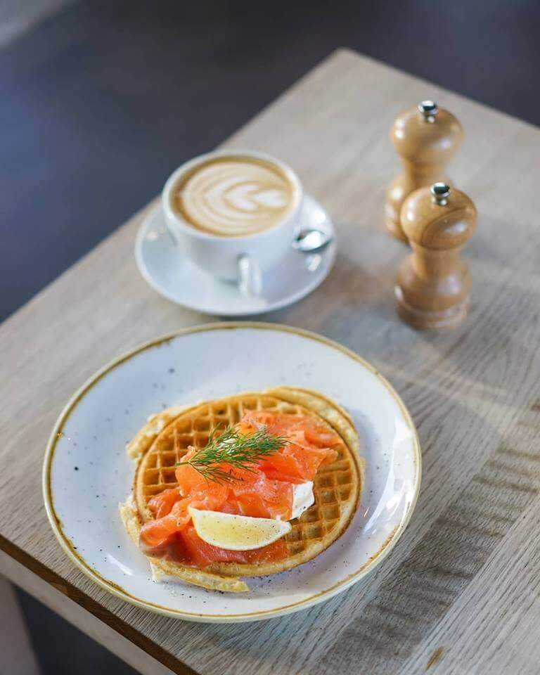 Smoked Salmon Waffle for Brunch at Soderbergs - Edinburgh, St Andrews Day