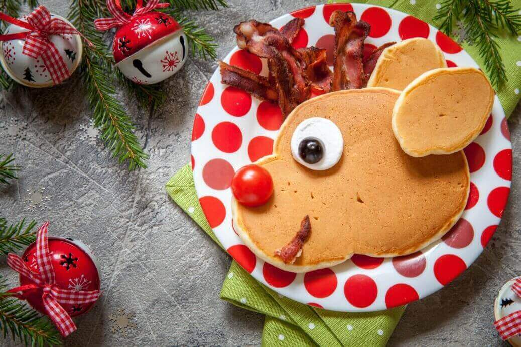 Reindeer Christmas Pancakes Bacon Maple Syrup Waffles