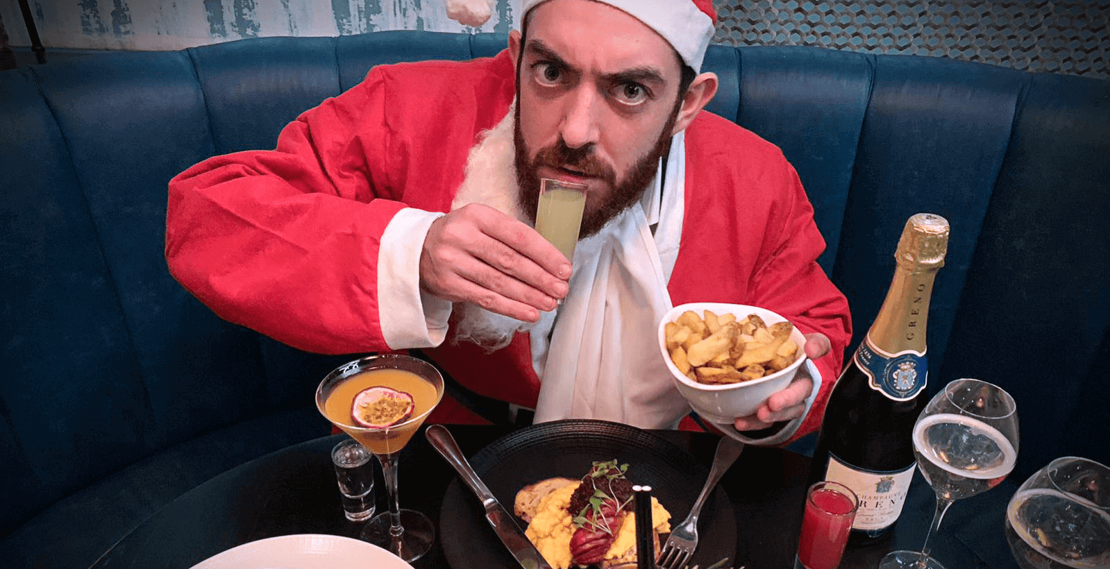 Naughty Santa Party Brunch with Bottomless Food, Cocktails and Champagne at M-Restaurant