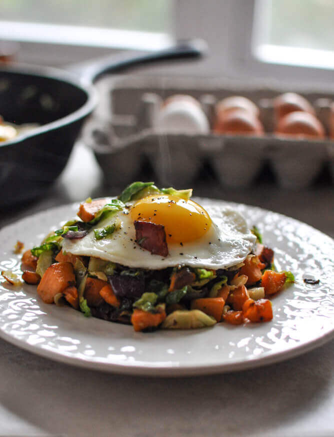 Brussels sprouts breakfast hash - Christmas Lunch leftover recipes