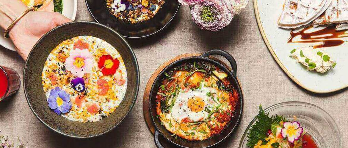 Brunch at Pachamama with Baked Eggs and Edible Flowers, London