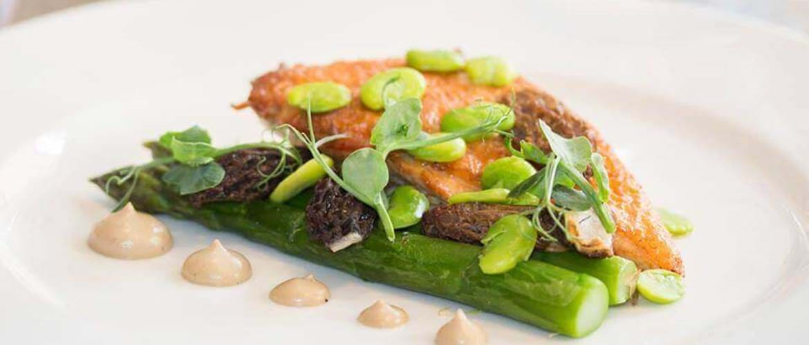 Salmon and Asparagus at Chiswell Street Dining Rooms