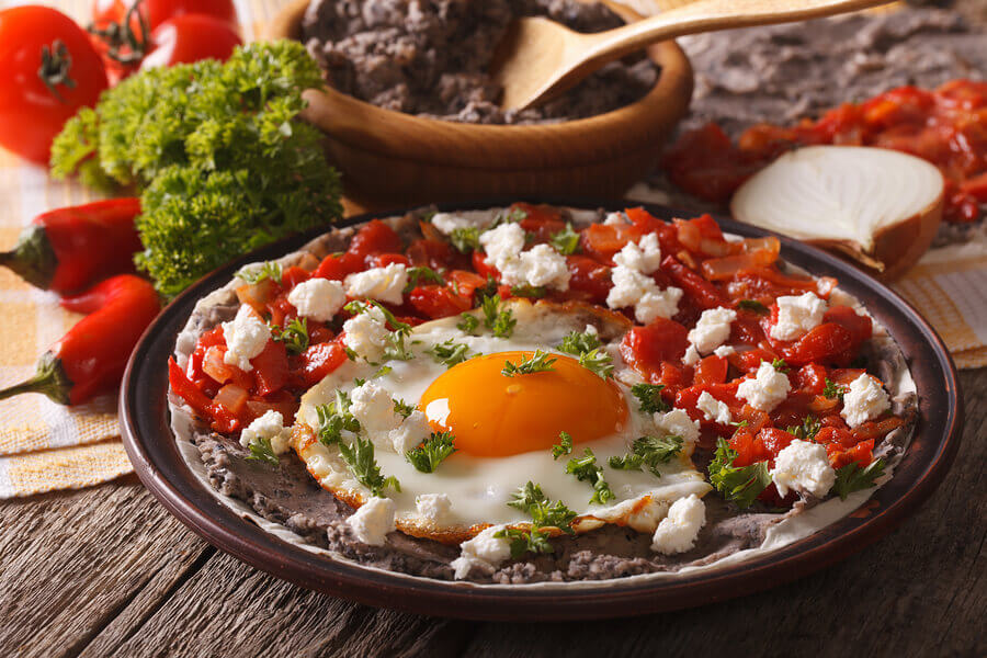 Huevos Rancheros Mexican Brunch Dish With Eggs, Salsa and Tortilla Wraps