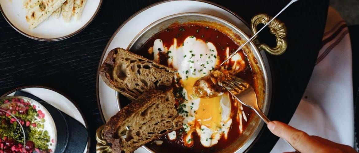 Turkish Eggs with Bread at Hovarda, in Soho, London on their Brunch Menu