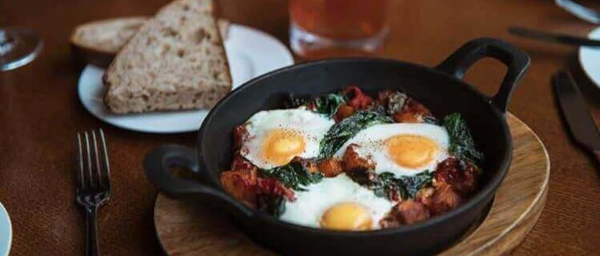 Baked Eggs at 20 Stories in Spinningfields, Manchester