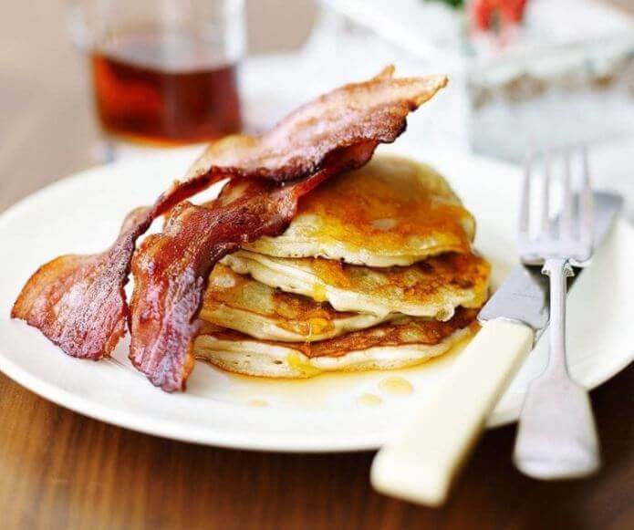 American Pancakes with Bacon and Syrup for Chinese New Year Brunch, Year of the Pig breakfast