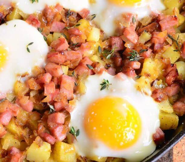 Ham mustard and egg potato hash for Chinese New Year Brunch, Year of the Pig breakfast