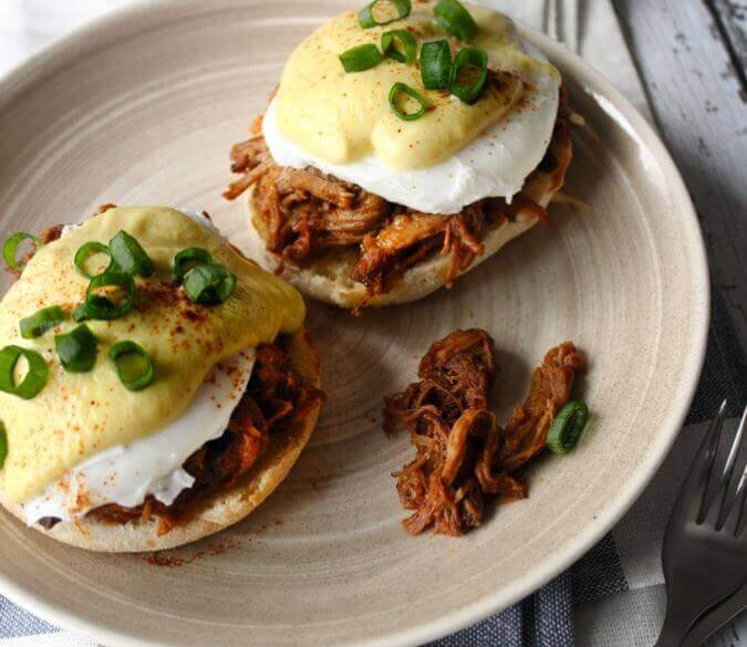 Pulled Pork Eggs Benedict for Chinese New Year Brunch, Year of the Pig breakfast