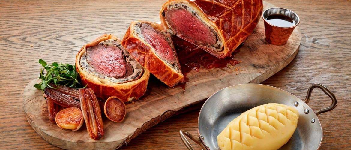 Beef Wellington at South Place Chop House in London