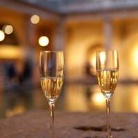 Champagne at Pump Room Restaurant at the Roman Baths - Bath, Somerset