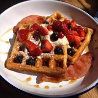 Waffles at Blas Cafe Dublin, Breakfast and bottomless Brunch in Dublin, Brunch in Dublin