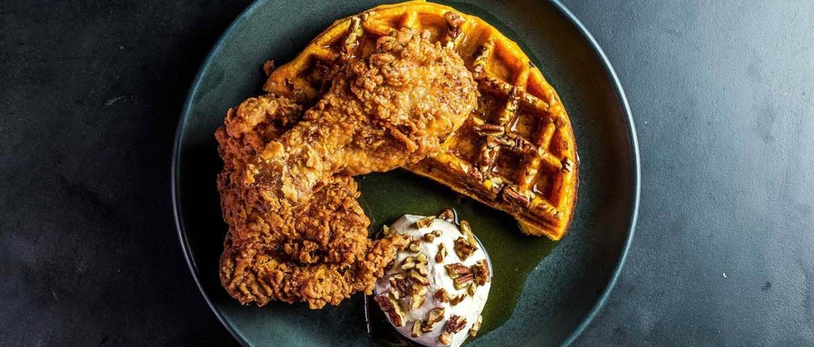 Chicken and Waffles at Dirty Bones Soho, Bottomless Brunch in London