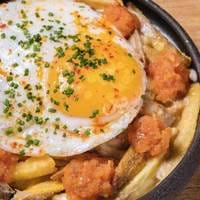 Egg and Chips Breakfast and Brunch at Opso, Greek Brunch, Greek Cuisine Greek Restaurants London, Bottomless Brunch London